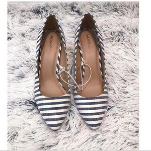 NWT Merona Denim Striped Alexis Pumps Size 6.5
